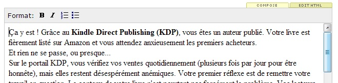 KDP author central éditeur descriptionjpg
